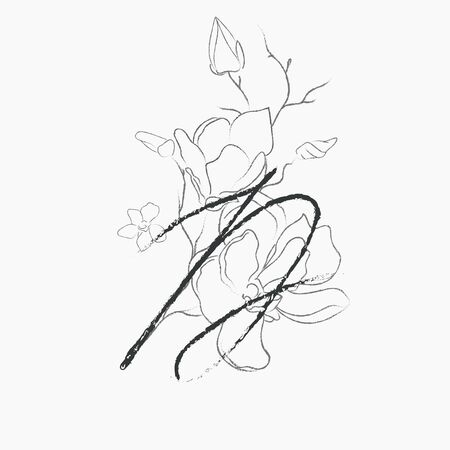 Handwritten Floral Logo Template. Line Drawing Monogram D with Magnolia Flower, Plants, Branches, Leaves. Design Element Vector Illustration. Branding. Wedding, photography, art, studio Vettoriali
