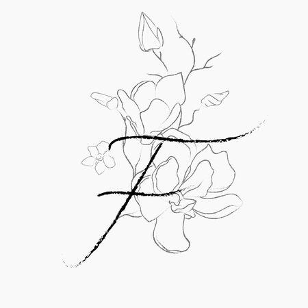 Handwritten Floral Logo Template. Line Drawing Monogram F with Magnolia Flower, Plants, Branches, Leaves. Design Element Vector Illustration. Branding. Wedding, photography, art, studio Logo