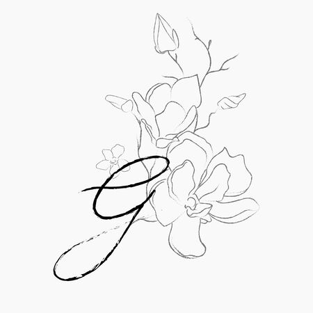 Handwritten Floral Logo Template. Line Drawing Monogram G with Magnolia Flower, Plants, Branches, Leaves. Design Element Vector Illustration. Branding. Wedding, photography, art, studio Vettoriali