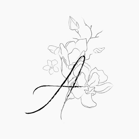 Handwritten Floral Logo Template. Line Drawing Monogram A with Magnolia Flower, Plants, Branches, Leaves. Design Element Vector Illustration. Branding. Wedding, photography, art, studio