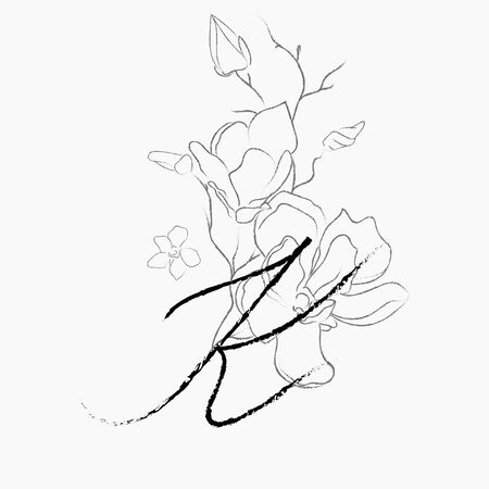 Handwritten Floral Logo Template. Line Drawing Monogram K with Magnolia Flower, Plants, Branches, Leaves. Design Element Vector Illustration. Branding. Wedding, photography, art, studio Vettoriali