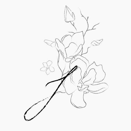 Modello di logo floreale scritto a mano. Monogramma di disegno a tratteggio I con fiore di magnolia, piante, rami, foglie. Illustrazione di vettore dell'elemento di progettazione. Marchio. Matrimonio, fotografia, arte, studio Logo