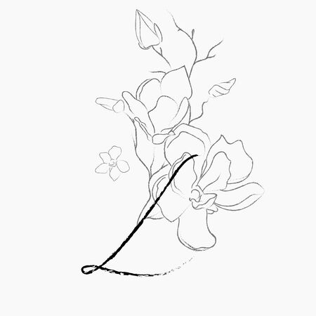 Handwritten Floral Logo Template. Line Drawing Monogram L with Magnolia Flower, Plants, Branches, Leaves. Design Element Vector Illustration. Branding. Wedding, photography, art, studio