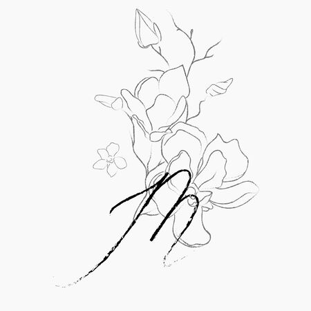 Handwritten Floral Logo Template. Line Drawing Monogram M with Magnolia Flower, Plants, Branches, Leaves. Design Element Vector Illustration. Branding. Wedding, photography, art, studio