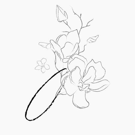 Handwritten Floral Logo Template. Line Drawing Monogram O with Magnolia Flower, Plants, Branches, Leaves. Design Element Vector Illustration. Branding. Wedding, photography, art, studio