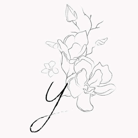 Handwritten Floral Template. Line Drawing Monogram Y with Magnolia Flower, Plants, Branches, Leaves.