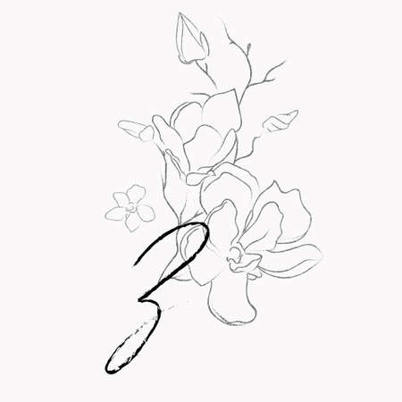Handwritten Floral Template. Line Drawing Monogram Z with Magnolia Flower, Plants, Branches, Leaves.