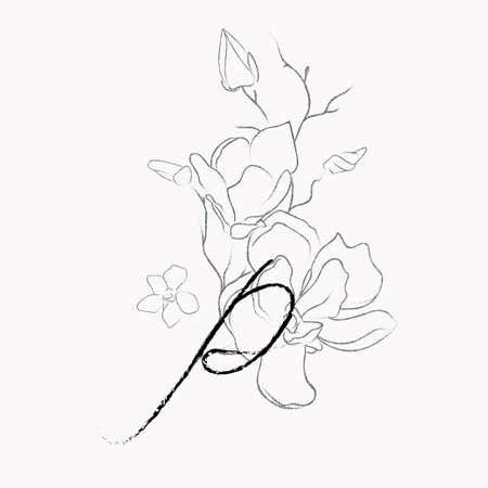 Handwritten Floral Template. Line Drawing Monogram P with Magnolia Flower, Plants, Branches, Leaves.