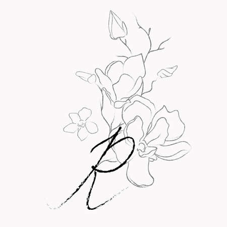 Handwritten Floral Template. Line Drawing Monogram R with Magnolia Flower, Plants, Branches, Leaves.