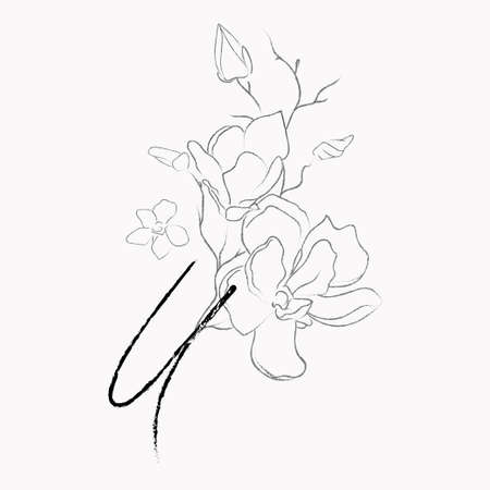 Handwritten Floral Template. Line Drawing Monogram U with Magnolia Flower, Plants, Branches, Leaves. Vettoriali