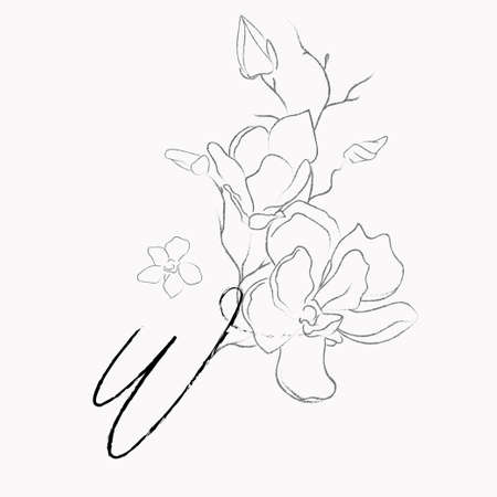 Handwritten Floral Template. Line Drawing Monogram W with Magnolia Flower, Plants, Branches, Leaves.