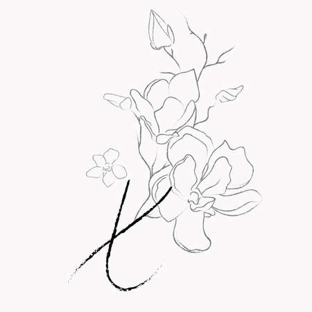 Handwritten Floral Template. Line Drawing Monogram X with Magnolia Flower, Plants, Branches, Leaves.