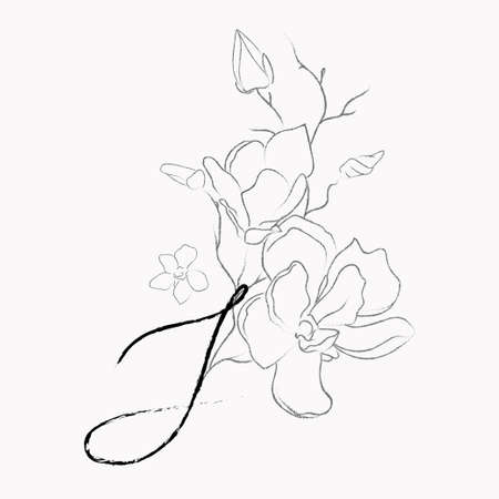 Handwritten Floral Template. Line Drawing Monogram S with Magnolia Flower, Plants, Branches, Leaves.