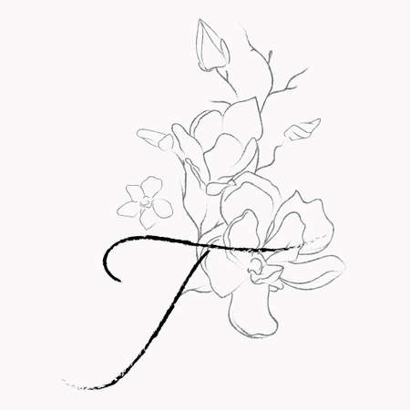 Handwritten Floral Template. Line Drawing Monogram T with Magnolia Flower, Plants, Branches, Leaves.