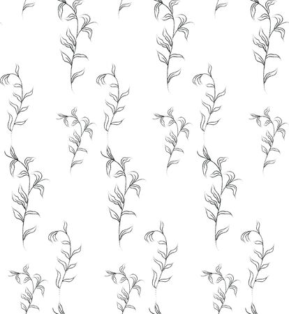 Vector Hand Drawn Line Drawing Doodle Floral Seamless Pattern with Wildflowers, Plants, Branches, Leaves. Design Elements Illustration. Branding. Swatch