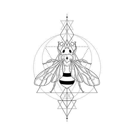 Abstract black honey bee vector illustration and line art logo design elements