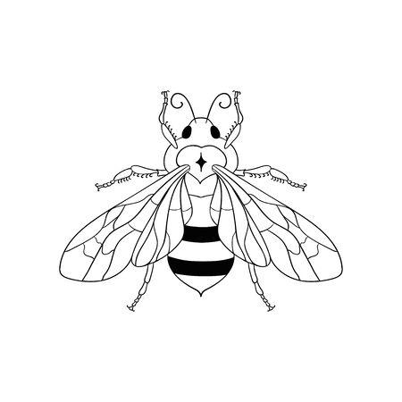 Abstract black honey bee vector illustration and line art logo design element.