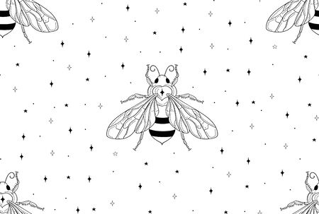 abstract honey bee seamless patterns with stars. line art vector illustration. packaging Stock Illustratie