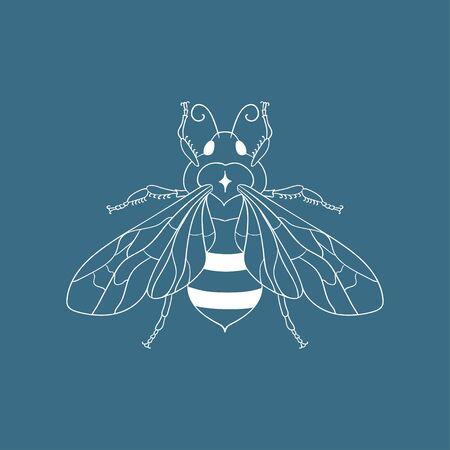 Abstract white honey bee vector illustration and line art logo design element. Stock Illustratie
