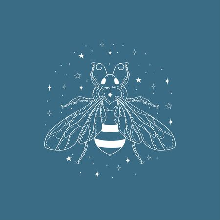 Abstract white honey bee vector illustration and logo design element with stars. Stock Illustratie