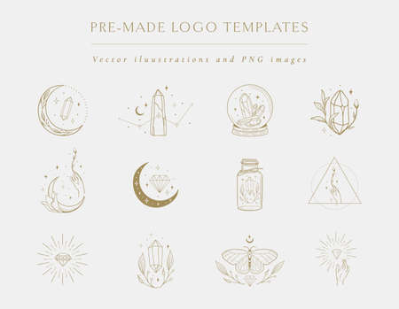 Gemstones Collection of vector hand drawn logo design templates and elements, geometric frames, decorative illustrations and icons of precious stones, gems, crystals. Line drawing, lineart style