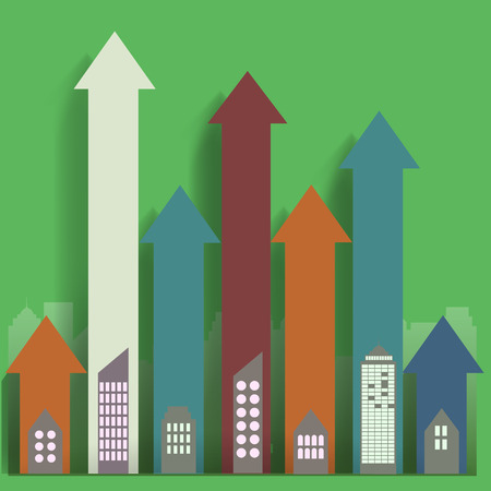 sales growth: real estate line sales growth in city metropolis Illustration