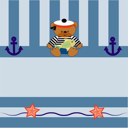 teddybear: card with a little bear anchor and goldfish