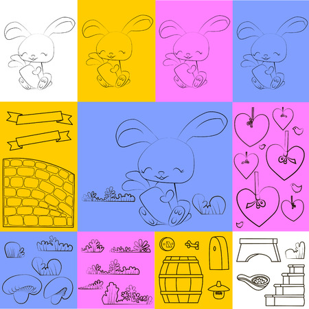 rabbit with carrot ribbons and flower design freehand drawing Vector