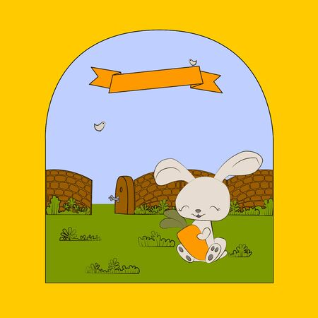 funny card with rabbit carrot and graphic style Vector