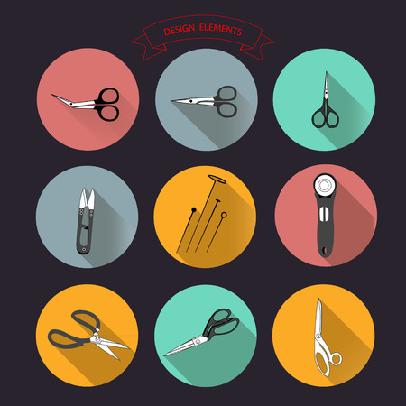 needlework: Vector sewing and needlework for tailors cutting-out scissors icons set