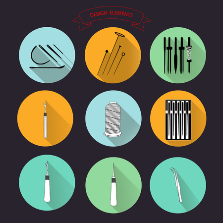 needlework: Sewing and needlework icons set vector collection for web color thread, needle