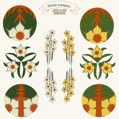 lent: Vector narcissus graphic designs. Spring vintage background with lent lilies. Elements lent lilies emblems