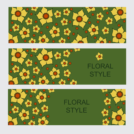 jonquil: Templates vector narcissus graphic designs. Spring vintage background with lent lilies. Greeting or invitation card.
