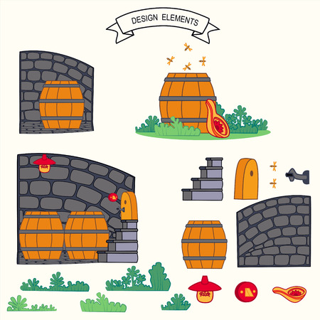 wooden barrel: Wooden barrel in the vault and honney bee vector illustration Illustration