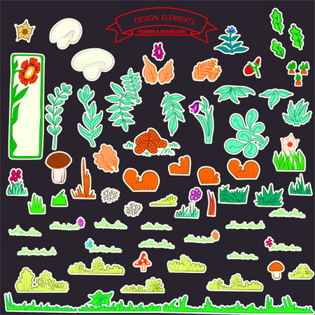 psychoactive: Large collection stickers kids of leafs,grass,mushroom and berry vector illustrated on white Illustration