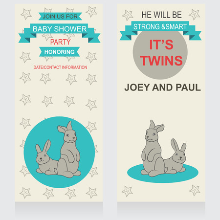 triplets: Baby shower vector invitation, template. Illustration of twins bunnies.