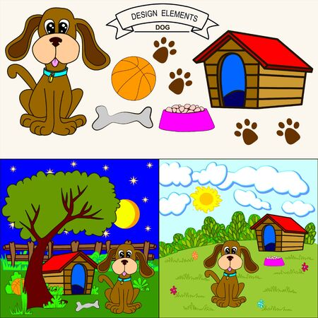 dog kennel: Cute dog sitting in front of its kennel in a garden, the day and  the night