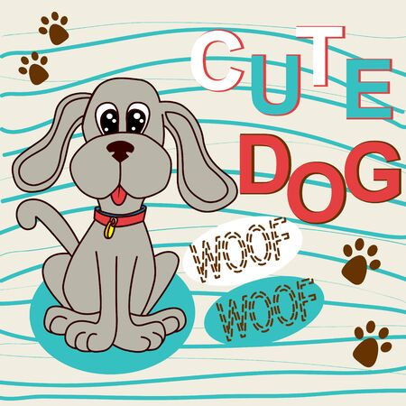 cute dog: Cute dog sitting  and shade paws vector illustration
