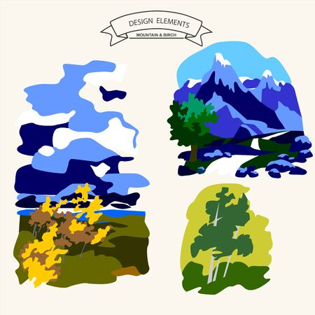 himalaya: Amazing glaciers on mountain green valley with birch grove vector illustration Illustration