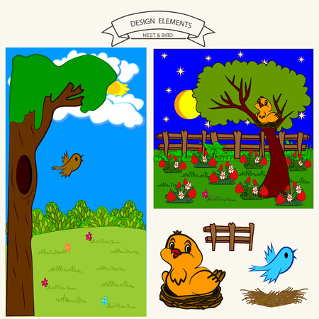 birds nest: Border pattern of bird in nest in a day and night with isolated vector element birds, nest, fence