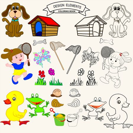cockle: Coloring Book or Page Cartoon vector Illustration set