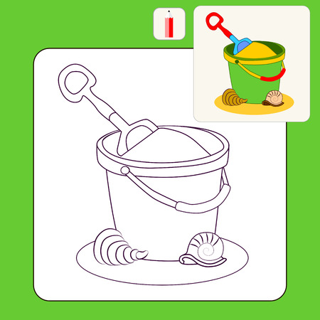 bucket and spade: Coloring Book or Page Cartoon vector Illustration of Toy bucket and spade Illustration