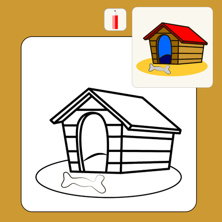 kennel: Coloring Book or Page Cartoon Illustration of kennel dogs and bone for Children
