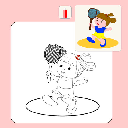 butterfly net: Coloring Book or Page Cartoon Illustration of girl with butterfly net for Children