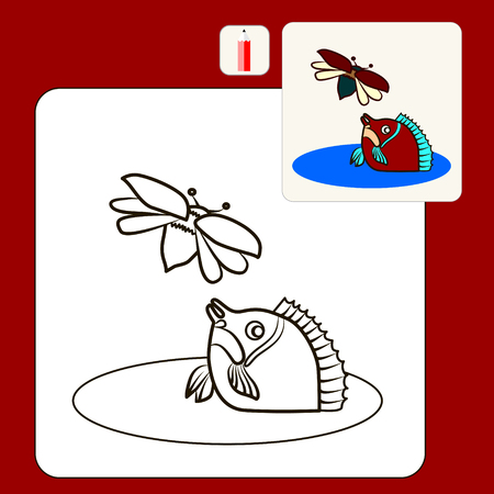 mirror carp: Coloring Book or Page Cartoon Illustration of mirror carp and may-bug for Children