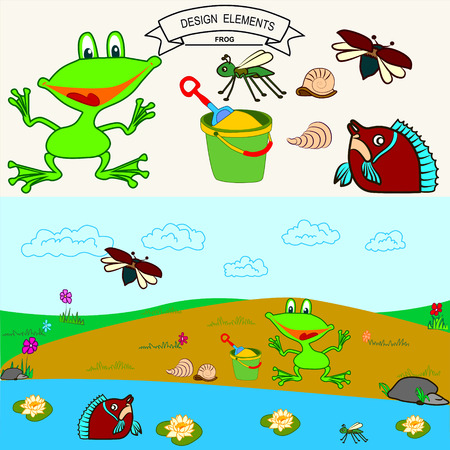 cockle: Little frog at the beach and fish in the lake Vector background Illustration