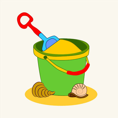 cockle: Toy bucket and spade isolated vector illustration of sandpit kit in sand