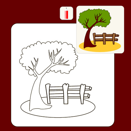 green tree: Coloring Book or Page Cartoon Illustration of old fence and green tree for Children