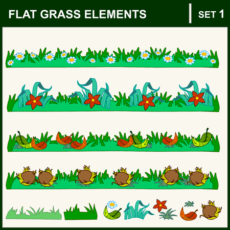 grass isolated: Set of nature elements: flowers, grass leaf. Vector flat illustration.
