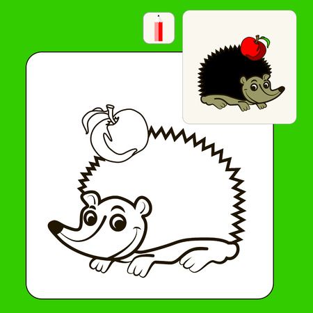 prickly fruit: Coloring Book or Page Cartoon Illustration ofhedgehog with apple for Children Illustration